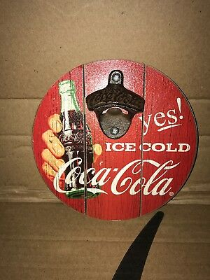 Drink Coca-Cola Wall Mount Bottle Opener On Wooden Sign Ice Cold Coke