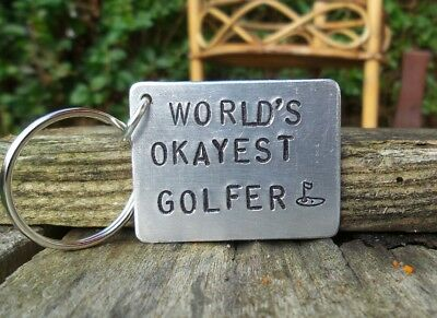 WORLD'S OKAYEST GOLFER Golf Gifts for Him Her Golfing Accessories Dad Keyring