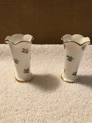"""Crown Staffordshire Hand Painted Small Floral Scalloped Bud Vase 3-1/4"""" Pair"""