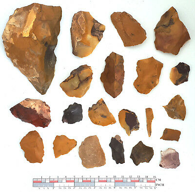 Mousterian tools in Fontmaure Multicolor Jasper NEANDERTHAL PALEOLITHIC #24