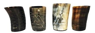 Whiskey Shot Glasses Odin and Waves Hand Engraved Set of 4 pieces Natural Horn G