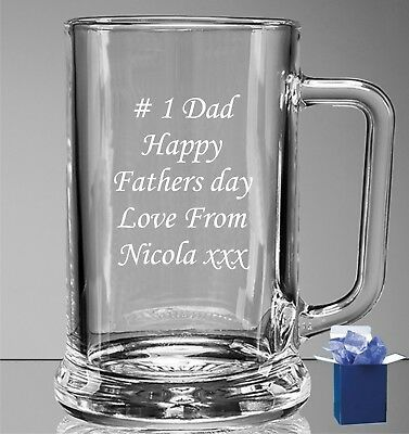 Personalised Engraved Pint Beer Glass Tankard 18th 21st 30th Birthday Gift