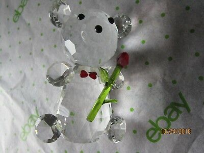 """Adorable BEAR with hearts and Red Rose 4 1/2"""" CUTE Crystal Collectable figurine"""