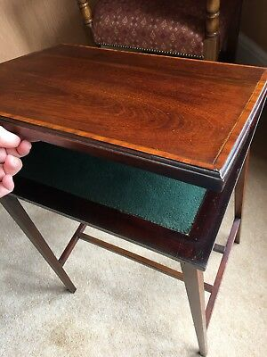 Antique inlaid mahogany green baize swivel card table table with storage