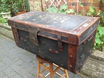 Large Antique Leather Bound Trunk Coffee Table Great Patina.