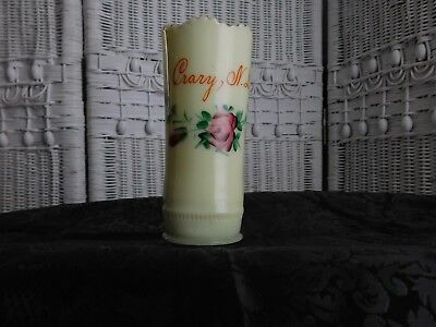 Circa 1905 Souvenir EAPG Custard Glass Vase Crary, North Dakota