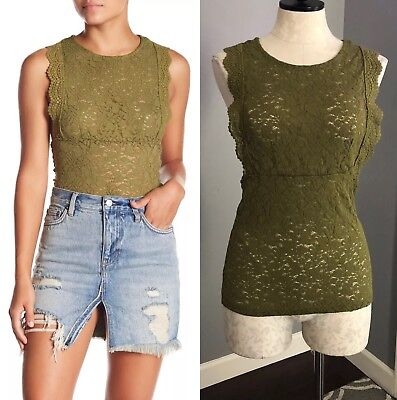 Free People Sure Thang Tank Top Olive Green Size Large New