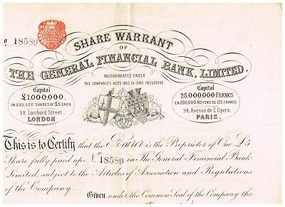The General Financial Bank, Ltd., 1881