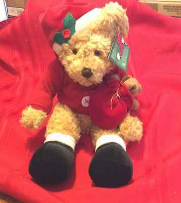 Avon Bear Collection Design By Russ,xmas Sammy Santa Bear W/baby Bear In Bag,nwt