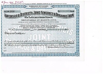 Vancouver & Districts Joint Sewerace & Drainage Loan, SPECIMEN