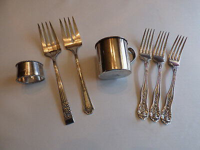 7 pieces Vintage Silverplate Coin Silver, Vernon, Rogers, Community