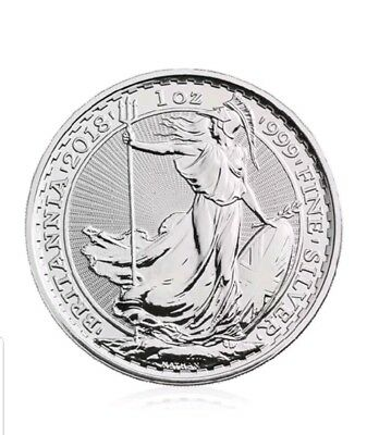 1 TROY  OZ 2018  999 fine   Silver Britannia Bullion Coin UNCIRCULATED NEW