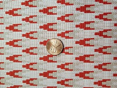 Vintage Double Knit Fabric 70w x 65L Red White Beige