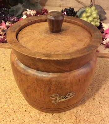 Vintage Solid Oak Tea Caddy 12 x 10cms with Ceramic Liner
