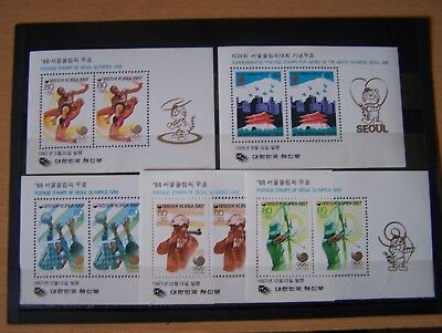 South Korea,1988 Seoul Olympics,5 Different M/sheets,u/mint,excellent.