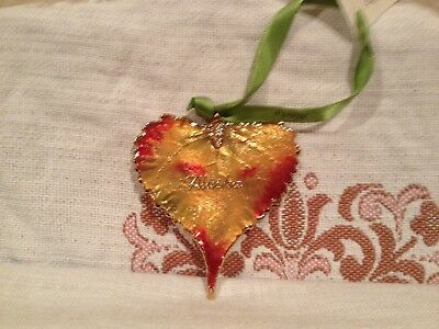Gold Dipped Real Cottonwood Leaf Ornament with Alaska Word by Rose Lady USA Made