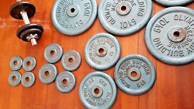 olympic body building melbourne weight plates plus dumbbell - see pics.