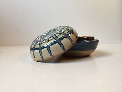Art Deco Pottery Trinket Lidded Jar with Spider Web Sunburst Glaze Danish 1930s