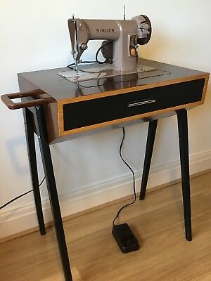Retro Vintage Singer Sewing Machine in Mid-Century Modern Work Table Cabinet