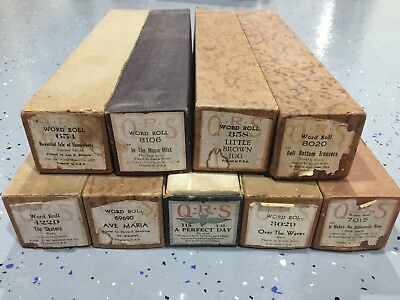 Lot of 9 QRS Word Roll Player Piano Rolls - Ave Maria, The Skaters + More!