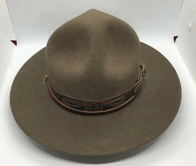 Vintage BOY SCOUTS OF AMERICA SCOUTMASTER STETSON HAT SZ 7 Original Leather Band