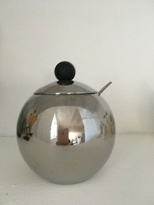Round Vintage Stainless Steel Sugar Bowl with Lid and Spoon Chrome Retro