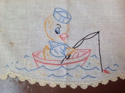 Antique Vintage Embroidered Sailor Duck Runner, So Cute