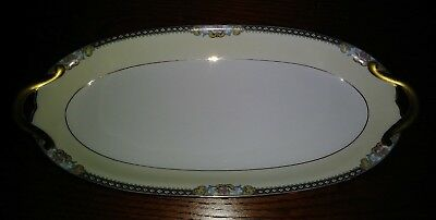 "Antique Noritake Meringo 13"" Celery Dish Pink Roses Diamonds Tan Band Gold EXC"