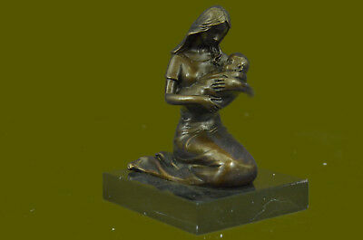 Collectible Nursery Art Baby Shower Gift Mother Child Kiss Bronze Marble Statue