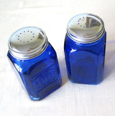 "Cobalt Depression Style Glass Salt/Pepper Shakers Embossed Retro 4 1/2"" x 2 1/2"""