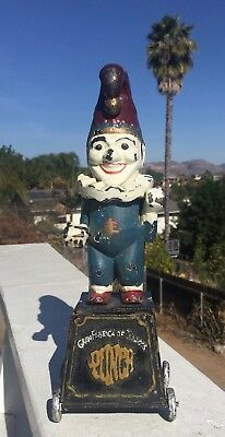 Vintage Antique Jester Clown Cast Iron Bank On Wheels Punch 5 Cent Cigars