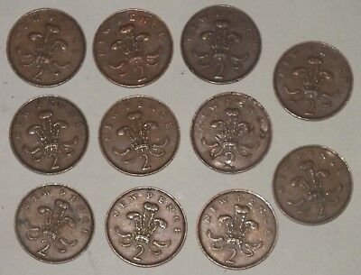 Lot 11 pcs 1971 Two Pence 2p New Pence Coins Great Britain United Kingdom RARE