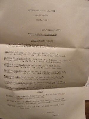 Delaware Country PA Civil Defense Requirements letter ATOMIC ATTACKS etc 1953