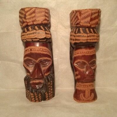 Vintage 1985 Solid Wood Hand Carved & Jamaica Man & Woman Head Statues