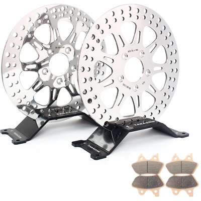 For Harley Front Rear Brake Rotor Discs Pads Sportster 883 1200 XL Softail 1450