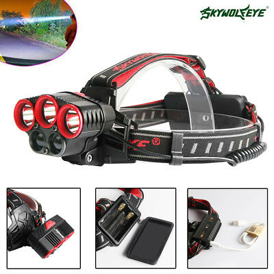 HeadLight 80000LM Hiking T6LED Rechargeable 18650 USB Headlamp Zoom Torch Lamp