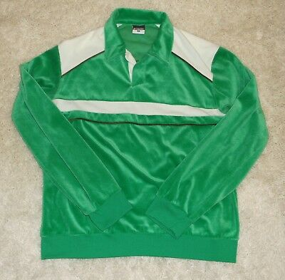 Vintage COLUMBIA mens Velour long sleeve shirt GREEN 1970's LARGE VGUC