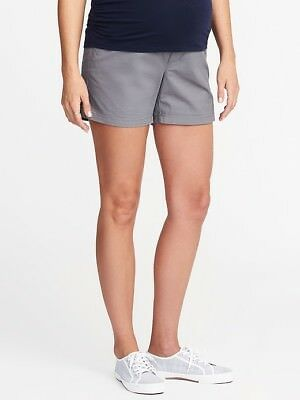 OLD NAVY Maternity Shorts SIZE 1 Gray Relaxed Full-Panel Twill NWT