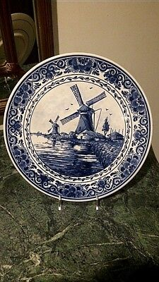 """Delft Blauw Holland Charger  10"""" Plate Windmills  / Town"""