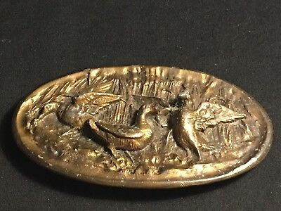 Vintage Adezy Denver Brass Belt Buckle Ducks Game Birds Hunter