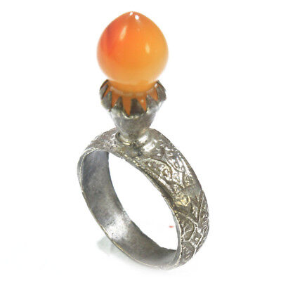 Carnelian Ring Sterling Silver ring Amber color Antique Estate Ring Celtic Ring