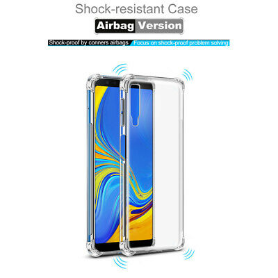 For Samsung Galaxy A9 A8 A7 A6 2018 Shockproof Bumper Clear Silicone Case Cover