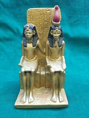 """Ancient Egyptian Reproduction Sitting Pharaoh Queen Statue Made in Egypt 7.5"""""""