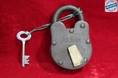 1900's Old Antique Vintage Rare Solid Iron Brass Lock and Key Collectible BC-84