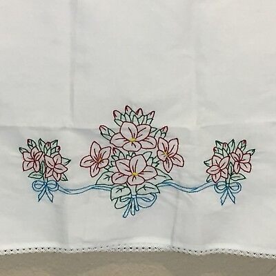 Vintage Embroidered Pillow Case White Floral Design One Standard Size Pillow