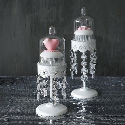 Bianco Vintage Cover Crystal Cupcake Stand porta w Display Dessert festa di nozz