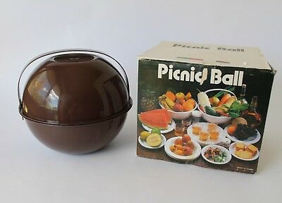 Vintage Retro 70s BROWN PLASTIC PICNIC BALL SET Plates Bowls Cups IN BOX Kartell