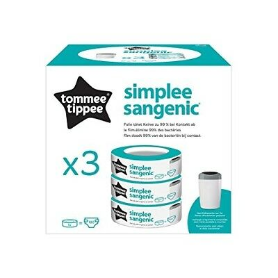 Tommee Tippee 3 Recharges Sac Poubelle à Couche SIMPLEE Sangenic Odeur Lange