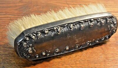 Vintage Antique Soft Brush For a Vanity - Silver Plate with Elaborate Roses