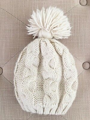 28925832c8c Baby Gap Ivory Cable Knit Pom Pom Lined Winter Hat Girls 3 4 5 Years
